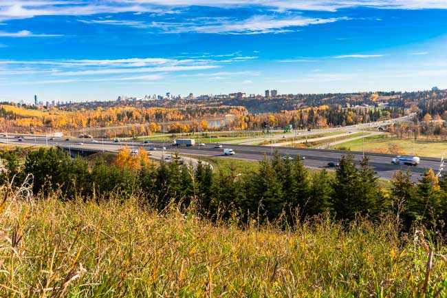 Edmonton has a large number of acres of parkland due to its green environment.